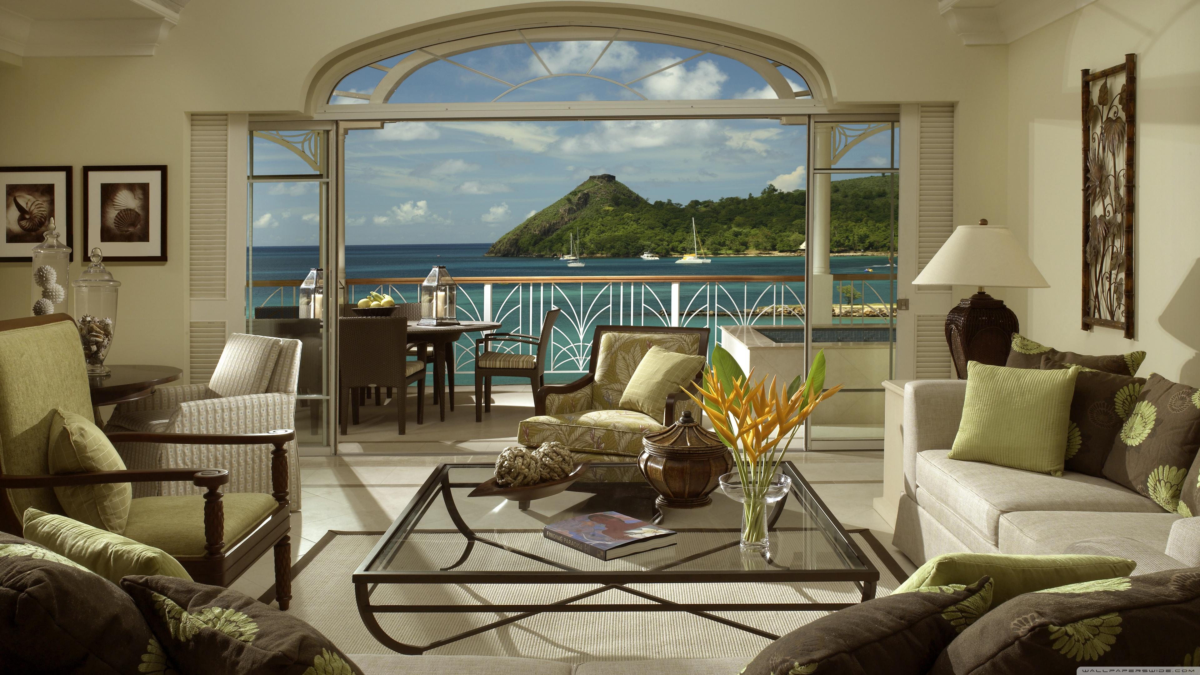 Скачать обои стиль, мебель, из окна, цветы, vacation, террас.